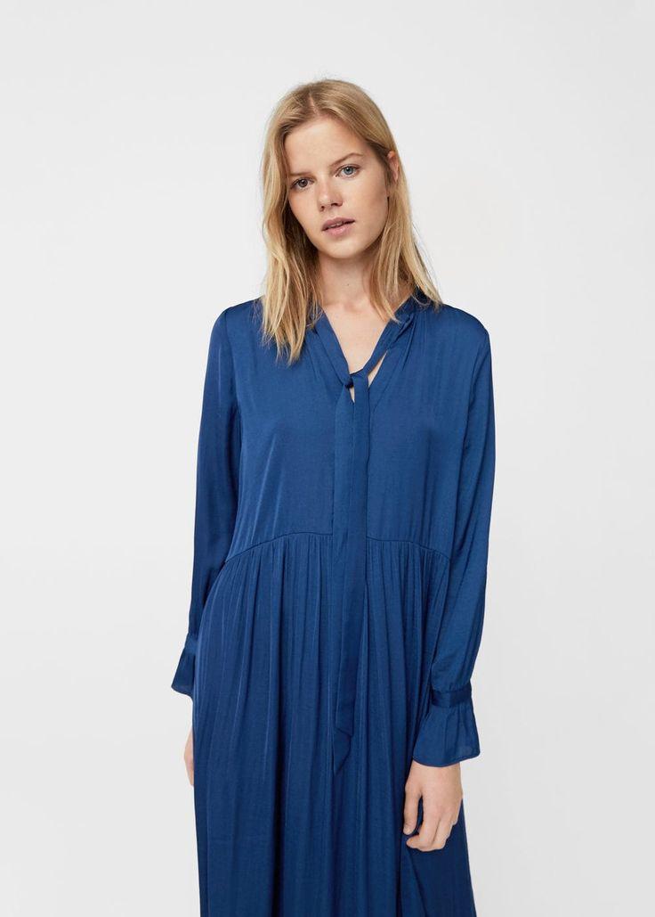 Długa sukienka z kokardą | MANGO