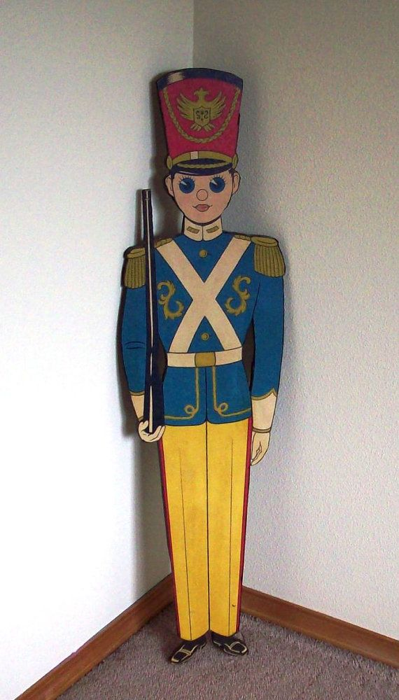 Vintage, Toy Soldier, Yard Art, Wall Hanging, Soldier, Nutcracker, Christmas, Big Eyes, Gold, Yellow, Blue, Red, 1960s