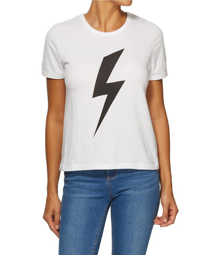 Channel the 90s with the Lightning Bolt Retro Tee. This basic tee shirt fits close to the body and features front print.