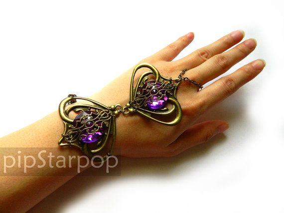 Elven Enchantress filigree bracer armor jewelry (Royal Purple) Bronze Metal filigree costume bracer / Slave Bracelet  - Customizable gem