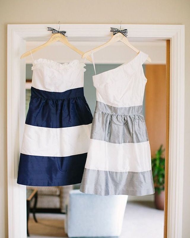 Ruffles, one shoulder, and sassy stripes! this preppy nautical striped theme! // @juliawade via @southernweddings // #lulakate #bridesmaidfashion #bffs #bridesmaidinspiration #wheremygirlsat #classicbridesmaid #stripebridesmaiddresses #sassystripes