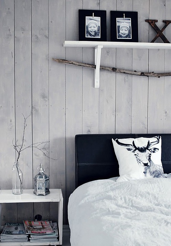 aspen pine paneling with charcoal/grey and white accents