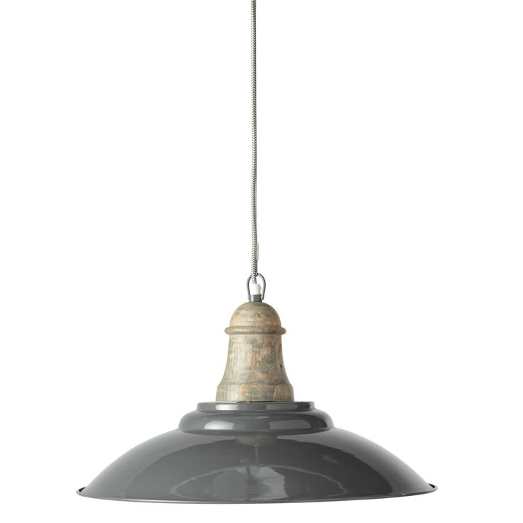 ARVID metal and wood pendant lamp, grey W 50cm