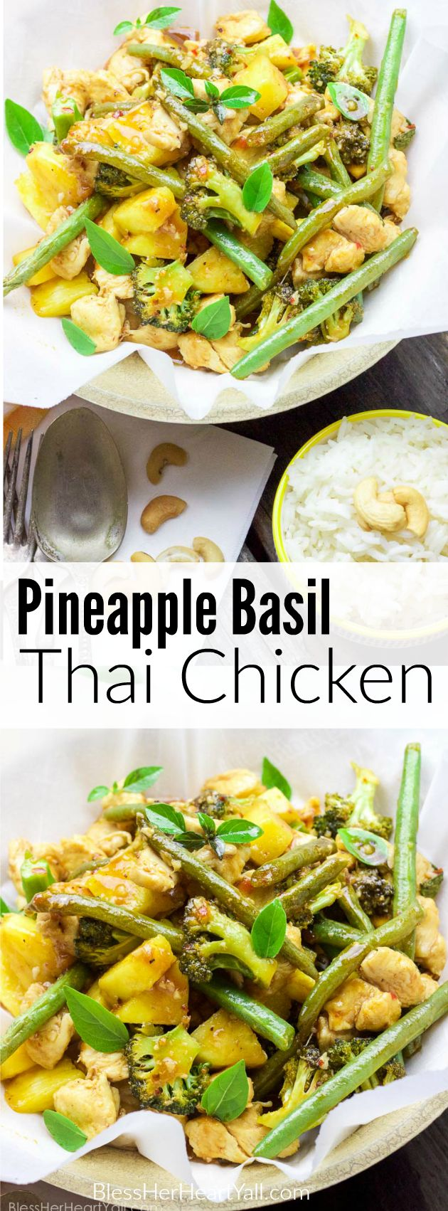 This 25 minute pineapple basil thai chicken is a simple, refreshing, and quick one-pot meal that's perfect when craving something asian-inspired... with a sweet twist!