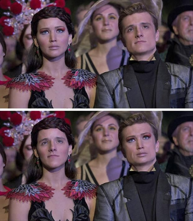 """BEST FACESWAP IN EXDISTANCE. PERIOD. -- pinning 20% for the picture, 80% for how the last pinner spelled """"existence"""".--- pinning for how Katniss with Peetas face looks like Finnick"""