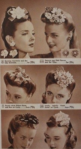 1940s Hats History - 20 Popular Women's Hat Styles floral flower rolls