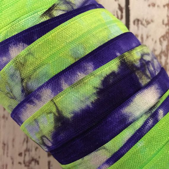 "Tie Dyed 5/8"" Fold Over Elastic // 5/8"" FOE // Chartreuse-Violet-White"