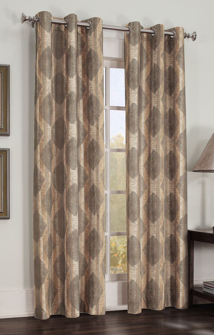 Modern grommet top curtains - Gibson Is A Large Scaled Modern Diamond And Stripe Pattern Thermal Room Darkening Drapery With Stainless Grommet Curtainsblackout