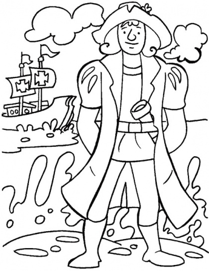 Columbus looking for a safe place to think over his finding coloring page | Download Free Columbus looking for a safe place to think over his finding coloring page for kids | Best Coloring Pages