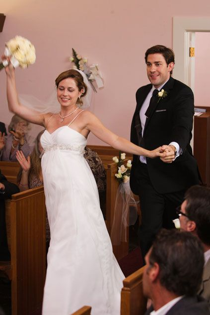 Wedding  I've seen this picture all over but there HAS to be video of Jim and Pam dancing down the aisle like this and I desperately want ot see it.  Either as part of the season 9 DVDs (Hoping for LOTS of extras!!!!!!!) or I would be willing to pay for another disc or 10 with all sorts of extras from through the years that we've never seen.  I know they have tons...  heck according to Greg Daniels they have tons from just the finale and heck,, I so much want to see ALL of that!
