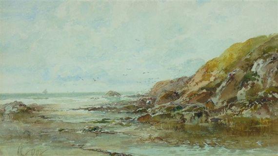 Albert Pollitt - Rocky coastal cove with distant boats1912 6.5 X 11 in (16.51 X 27.94 cm)