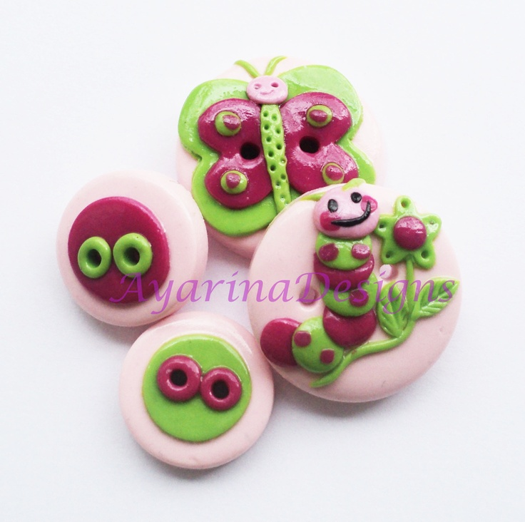 Cute Caterpillar and Butterfly- set of 4 polymer clay buttons