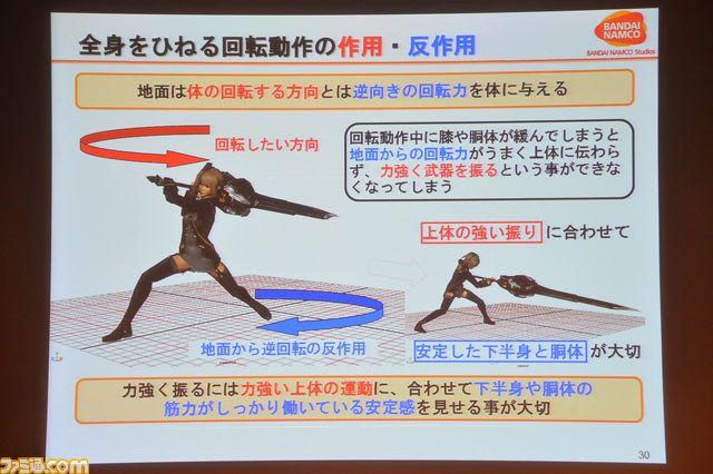"""格好いい攻撃モーションには、すべて理由があった! """"身体の動きと原理から知る、闘うインゲームアニメーションの中身""""リポート【CEDEC 2013】【拡大画像】 - ファミ通.com"""