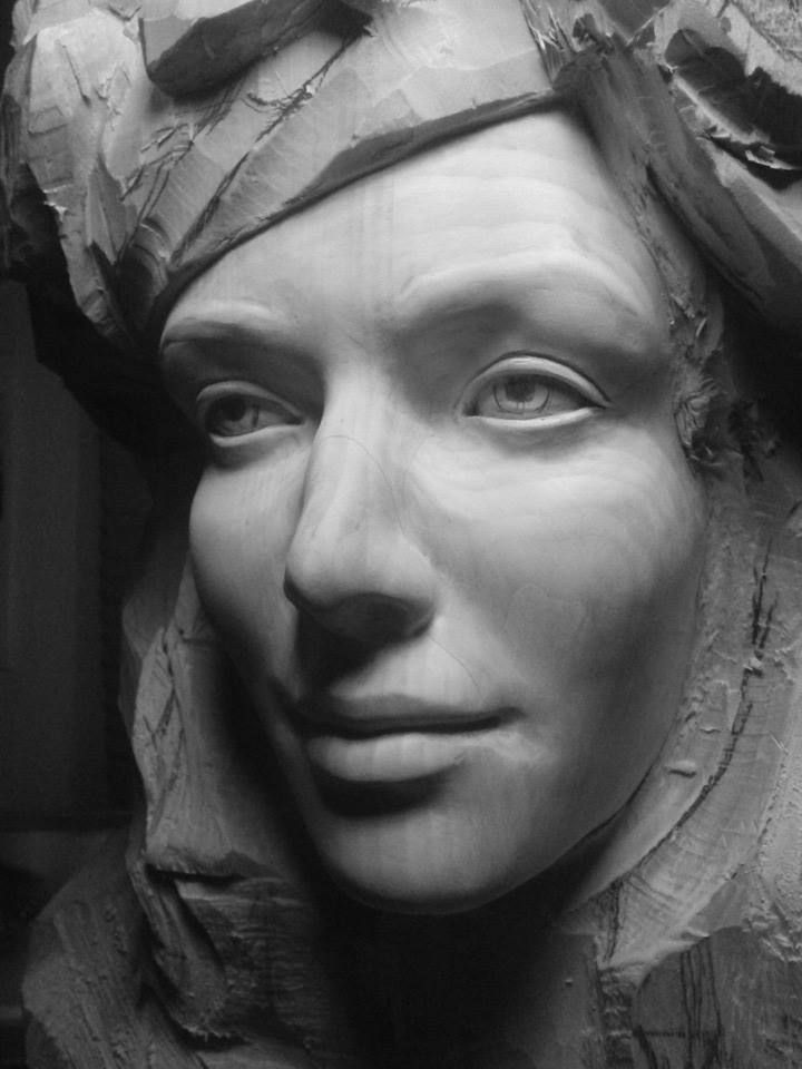 Figurehead. Sculpted in wood by Arnodo Stefano. Detail of the face.  Go to https://www.arnodosculture.it to see more.