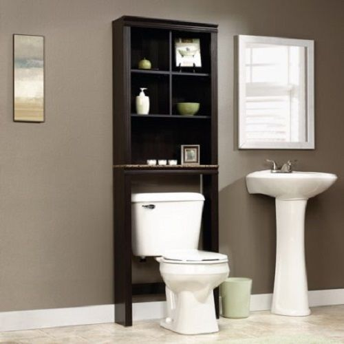 Bathroom storage cabinet over toilet linen toiletries wood shelves space saving the sauder peppercorn bathroom etagere is a wonderful addition to any bathroom needing more storage space. Featuring a dark wood finish, this cabinet is sure to fit in nicely with most furnishings and decor. The cubby hole storage is equipped with two adjustable shelves making it ideal for housing a variety of items. The bottom shelf has a strong, faux granite finish that adds to the elegance of this unit…