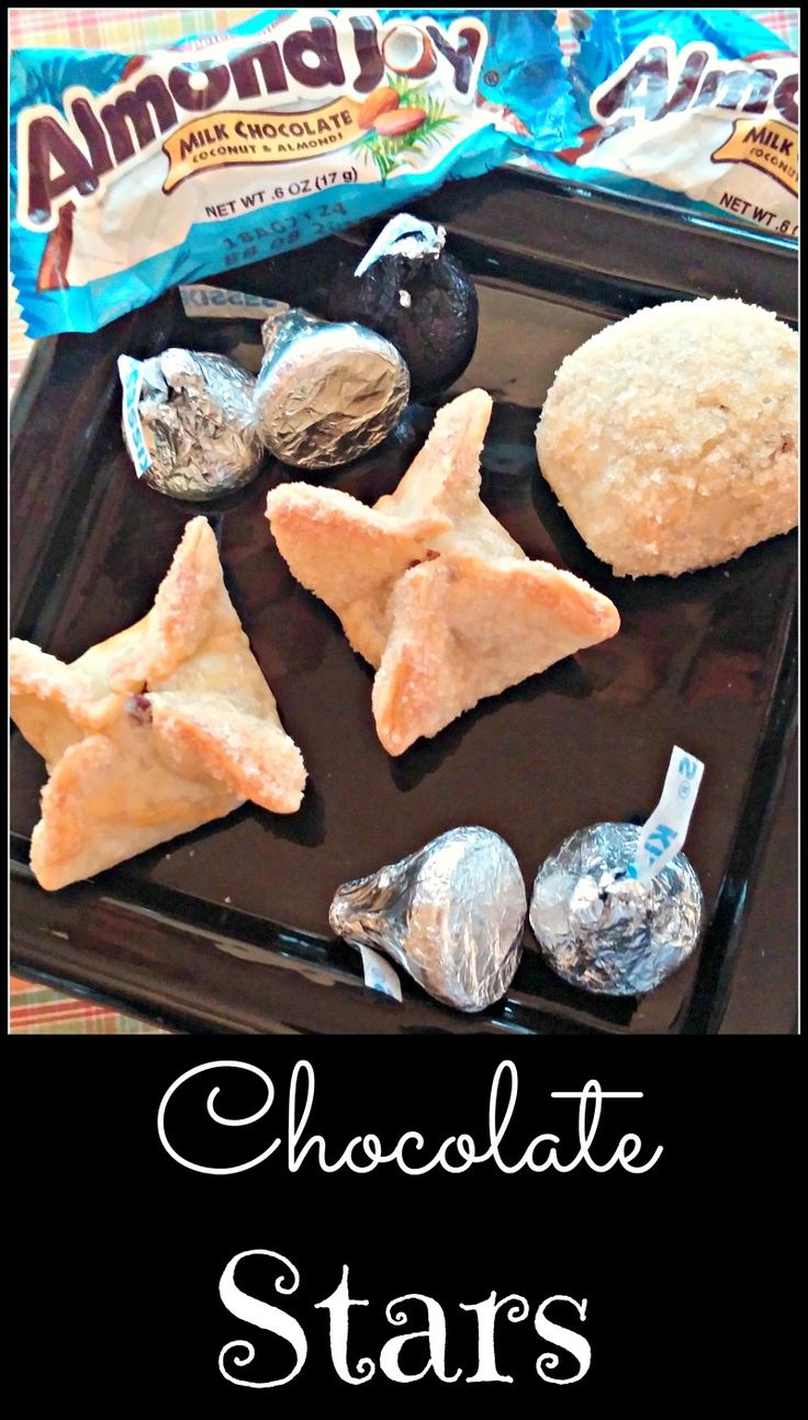 Chocolate Stars Pie Crust Cookies - Easy recipe with essentially just two ingredients. Crispy, chocolate yumminess! I'm using mini Reese's cups for the next batch.