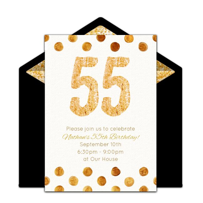 Free milestone birthday invitation! Golden 55th birthday online invitations you can personalize and send via email.