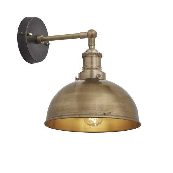 Brooklyn Vintage Antique Sconce Wall Lamp - Dome - Antique Brass - 8 inch