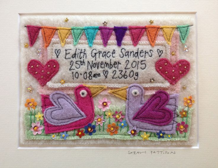 """Personalised embroidery in a mount 8"""" x 10"""" from £45. Made using hand dyed vintage woollen blankets. The letterng is free machine embroidery. I do this by hand - not with a fancy pre programmed machine so each letter is unique! and I can stitch in any langage. To order please email me sarah.pattison603@btinternet.com find me on facebook sarah pattison design and on instagram sarahpattisondesign copyright Sarah Pattison Designs."""