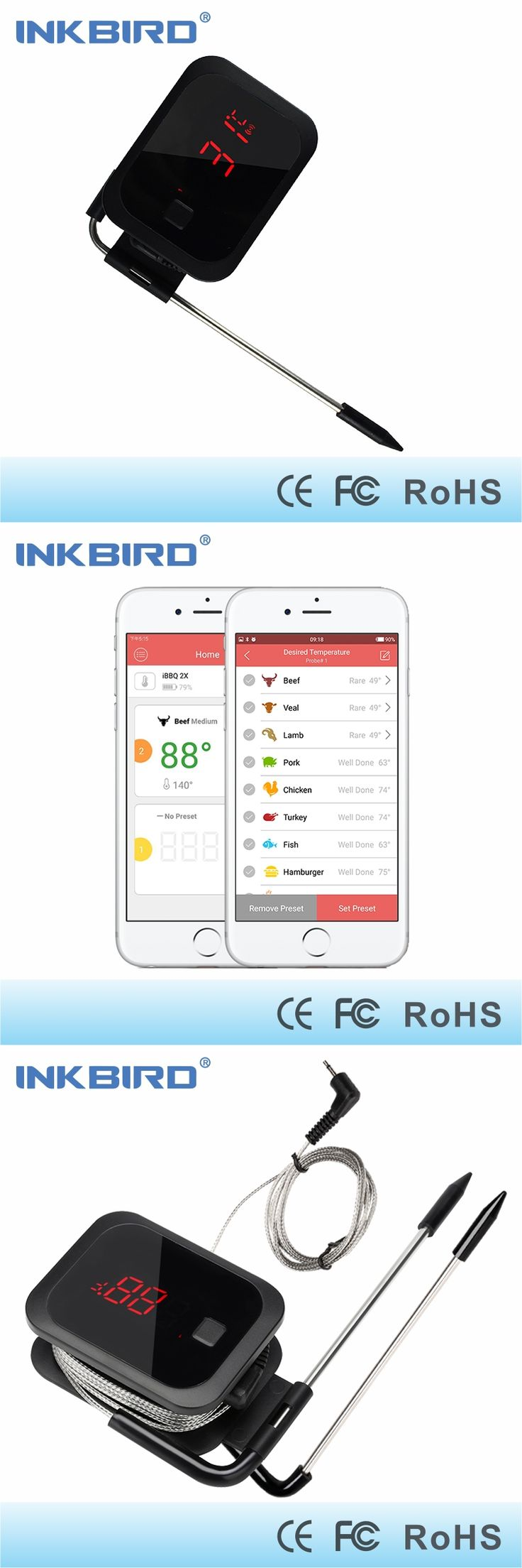 Inkbird Food Cooking Bluetooth Wireless BBQ Thermometer With Double Probes and Timer For Oven Meat Grill BBQ APP controlled