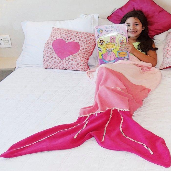 Cobertor de Sereia: Cauda de Sereia Pink Adulto e Infantil - Toalha e Coberta - relogiosdadora