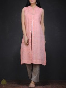 Pink Handloom Cotton Jacket by Jaypore