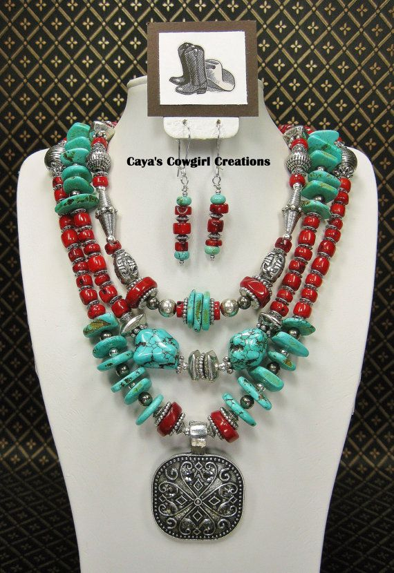 SOUTHWESTERN / WESTERN COWGIRL Necklace Statement Bold Triple Strand Jewelry - ReD CoRaL GLaMouR