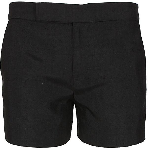 Holmes & Yang black silk shorts ($715) ❤ liked on Polyvore