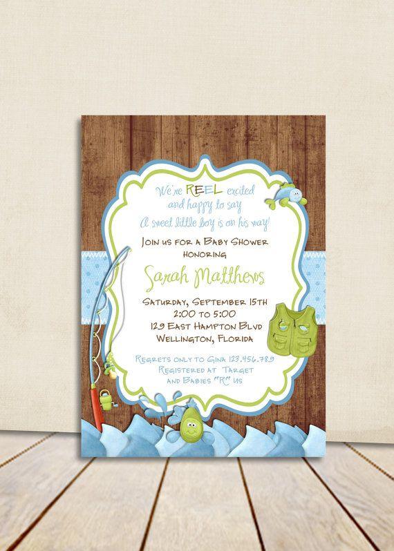 Rustic Fishing Birthday Invitation  Fish And Rod Gone Fishing Printed Or  Digital Invite. Gone Fishing Baby Shower ...