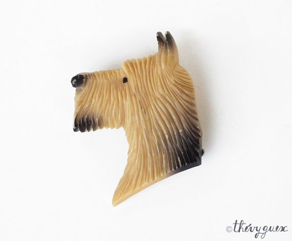 Plastic Celluloid Dog Brooch  Vintage Cute by goodiesoldies