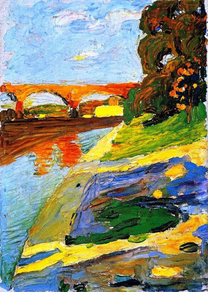 "Wassily Kandinsky - don't know the title but how about ""Bridge Over Troubled Waters""?"