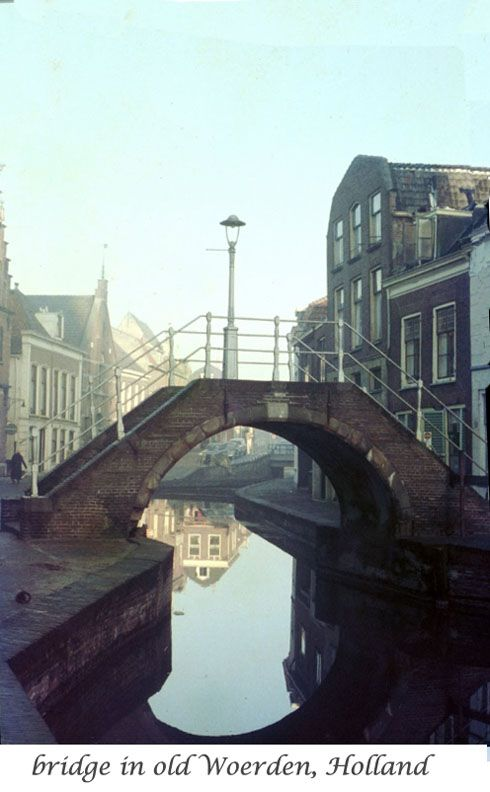 Bridge in Woerden, Holland. The Slecht family, ancestors of the American Dutch Slack families, emigrated from Woerden to New Netherlands, America in the spring of 1853, then were among the founders of what is now Kingston, Ulster County, New York.