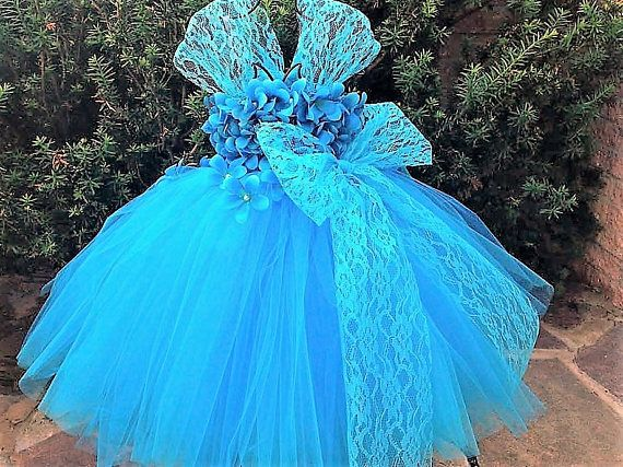 TURQUOISE FLOWERS and LACE  Blue Tutu Dress  Flower Girl