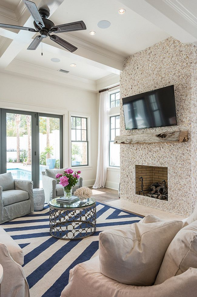 """Beach House Designed by Old Seagrove Homes - """"Timber"""" (The fireplace is tabby shell stucco.)"""