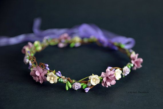 Purple Green Flower Crown  Flower Girls  by LuckyKidsHandmade