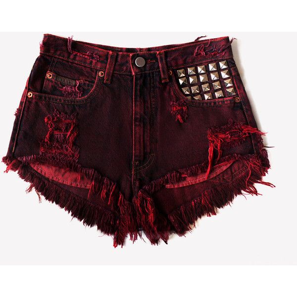 Scarlett Vintage Frayed Studded Shorts ❤ liked on Polyvore