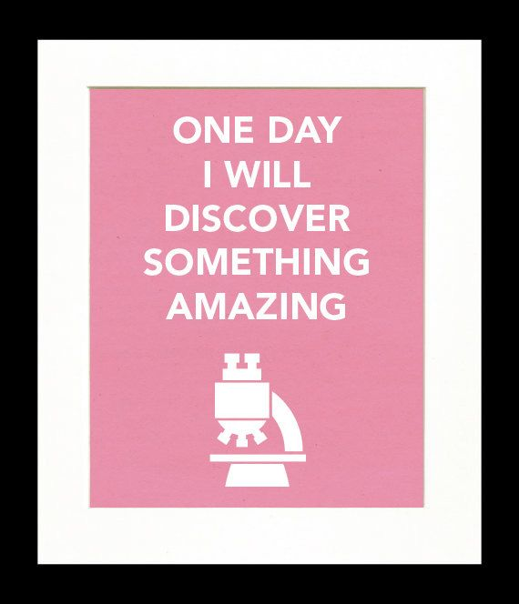 Childrens Art Print Poster, Nursery Art, Childrens Room, Microscope, Scientist, One Day I Will Discover Something Amazing, 11x14 Print