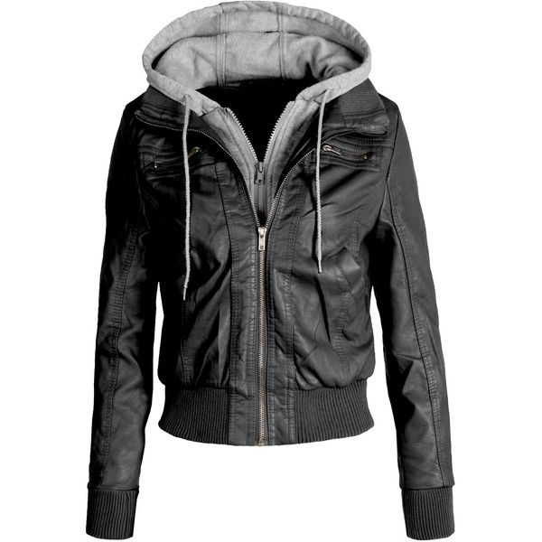 LE3NO Women's Zip Up Faux Leather Moto Jacket with Hoodie ($30) ❤ liked on Polyvore featuring outerwear, jackets, tops, leather jacket, rider jacket, vegan biker jacket, synthetic leather jacket, vegan jackets and zip up jacket