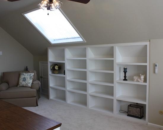 Shelves for slanted ceiling