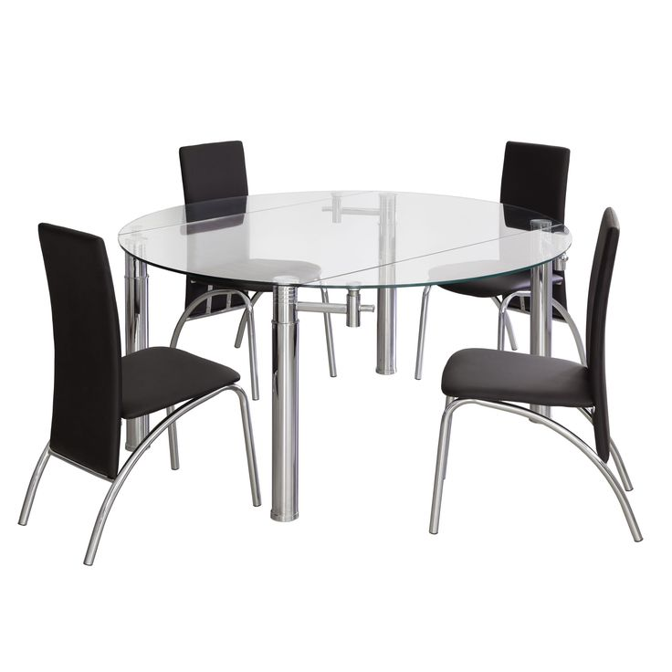 Mesa de comedor cristal oslo mesa de comedor mesa - Comedores mesa redonda ...