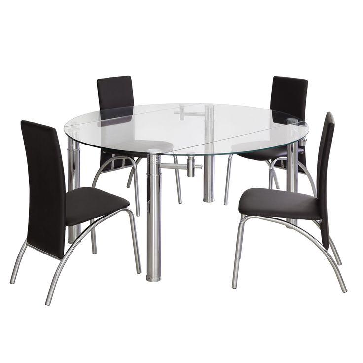 Mesa de comedor con tapa de cristal convertible en mesa redonda gracias a los extensibles laterales. Estructura metálica en acabado cromo. Cristal templado de 12mm. Medidas: Abierta: 76x146 Cerrada: 76x146x90