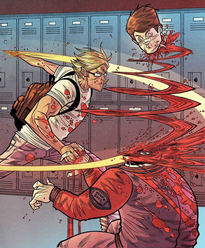 From The Strange Talent of Luther Strode (2011) written by Justin Jordan, drawn by Tradd Moore, colored by Felipe Sobreiro, published by Image Comics