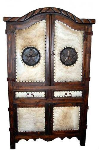 rustic texas star decor | Dark Brown Rustic Cowhide Star Armoire Media Cabinet | eBay
