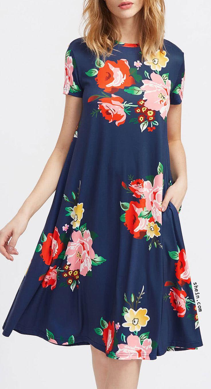 Flower Print Side Pocket Detail Swing Tee Dress