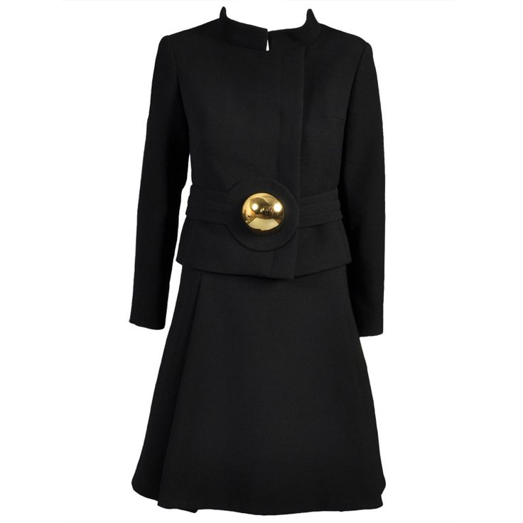 Pierre Cardin 1960s Wool Suit with Gold Brooch | From a collection of rare vintage suits, outfits and ensembles at https://www.1stdibs.com/fashion/clothing/suits-outfits-ensembles/