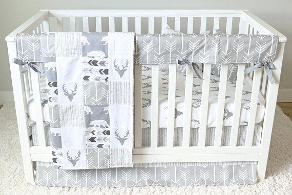 Baby Crib Bedding Set Gray Woodlands Nursery All Gray Baby