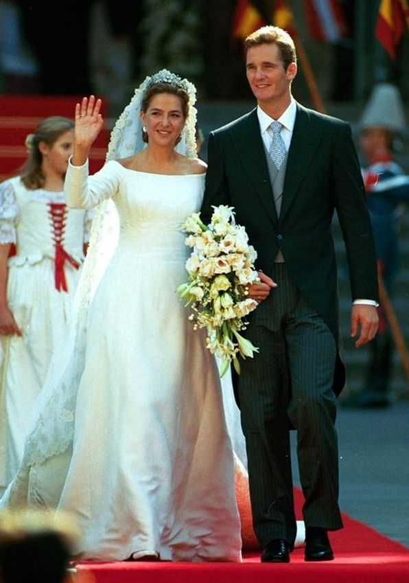 Infanta Cristina of Spain and Iñaki Urdangarín on their wedding day, 1997.