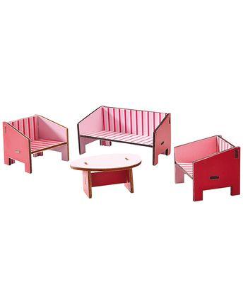 Puppenhaus-Möbel WOHNZIMMER 4-teilig in bunt