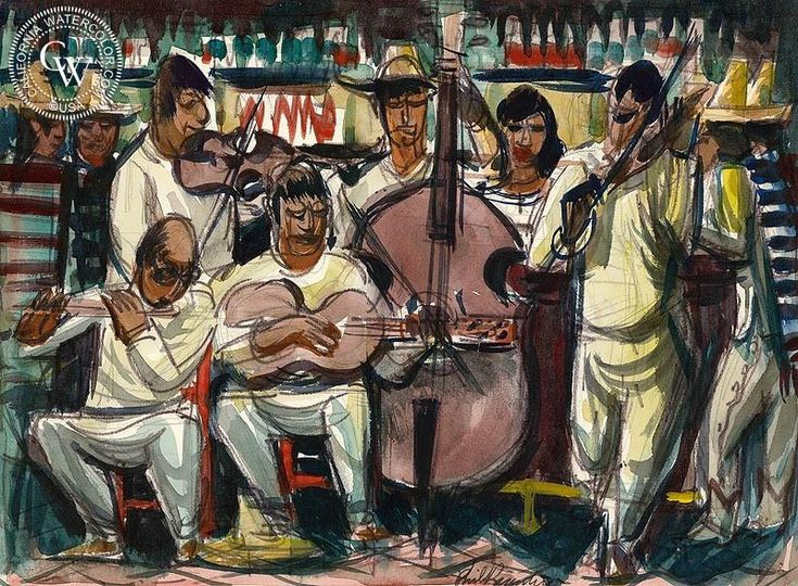 Sonora, Mariachi, 1951, art by Phil Paradise – California Watercolor