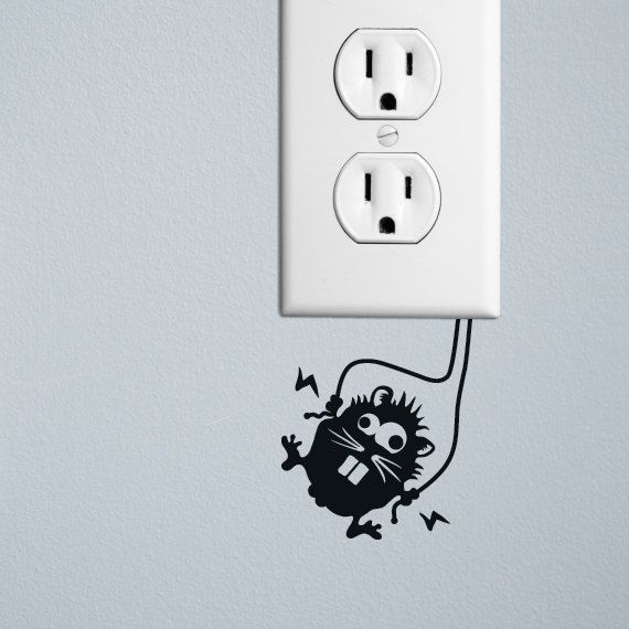High voltage hamster decal sticker for wall switches by Sluug, £3.00